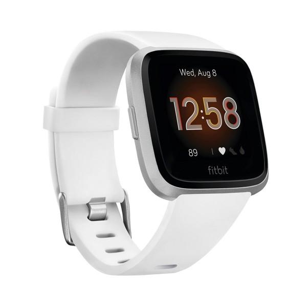 Fitbit versa lite blanco plata smartwatch reloj deportivo con pantalla táctil y correa blanca