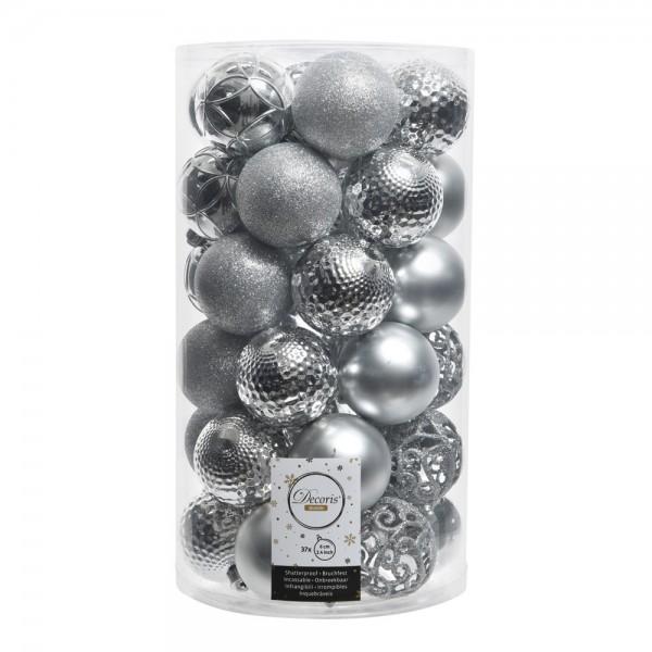 Tubo de 37 bolas plateadas decorativas para arbol de navidad